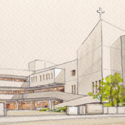 教会外観水彩画
